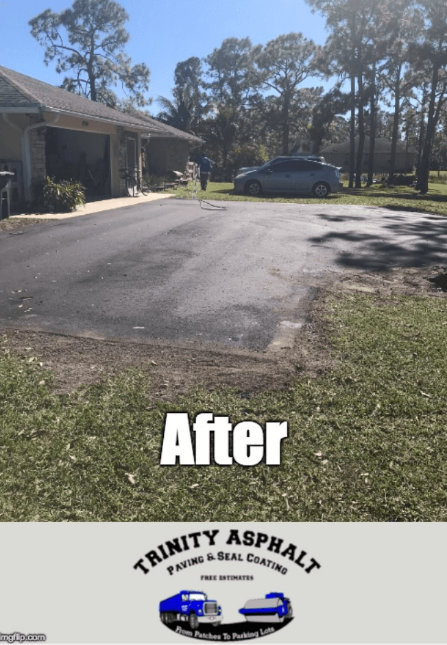 Driveway in the Acreage after Trinity Asphalt Finished